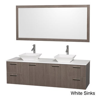 Amare grey oak 72 inch double bath vanity and 70 inch mirror overstock shopping great deals for 70 inch bathroom double vanity