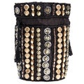 Handmade Black Embroidered Jewelry Drawstring Pouch (India)