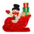 28-inch Waving Snowman Riding In Red Sleigh 85 Clear UL Lights