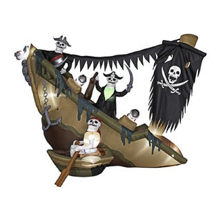 8-foot high Airblown Skeleton Pirates Shipwreck Lawn Ornament