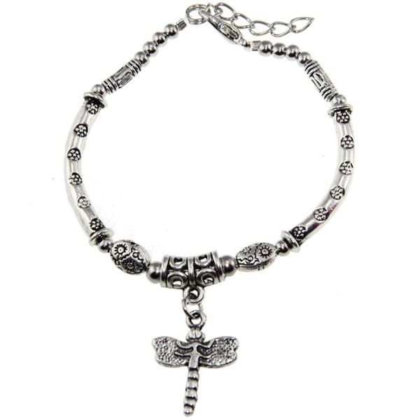 Tibetan Silver Bracelet and Dragonfly Charm (China)