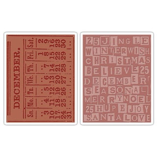 Sizzix Texture Fades December/ Holiday Embossing Folders (Pack of 2)
