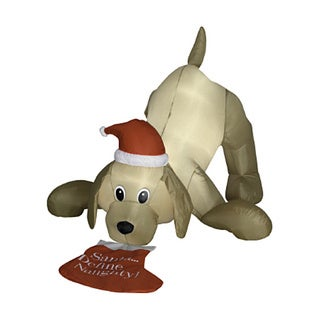4-foot Animated Airblown Golden Retriever and Christmas Stocking Lawn Ornament