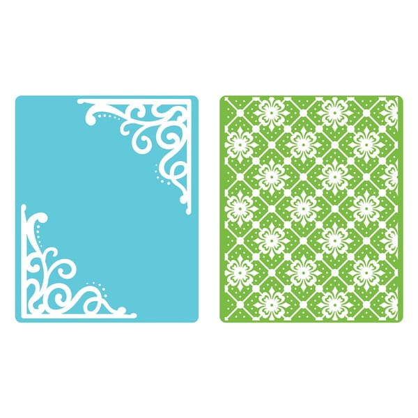 Sizzix Textured Impressions Corners/ Lattice Embossing Folders (Pack of 2)
