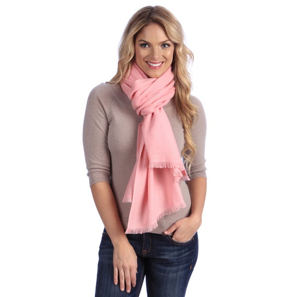 Women's Baby Pink Cashmere Twill Weave Stole