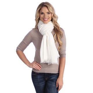 Women's White Cashmere Twill Weave Stole