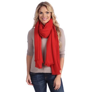Women's Red Cashmere Twill Weave Stole