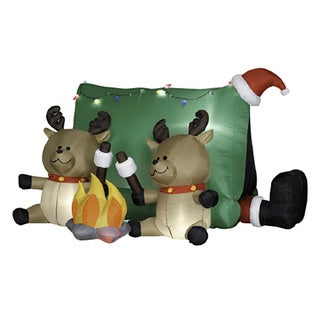 4-foot High Airblown-Santa and Reindeer Camping Scene Outdoor Lawn Ornament