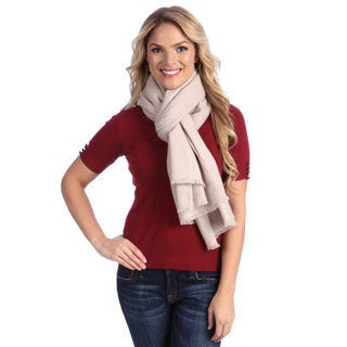 Women's Ivory Cashmere Twill Weave Stole