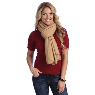 Women's Camel Cashmere Twill Weave Stole