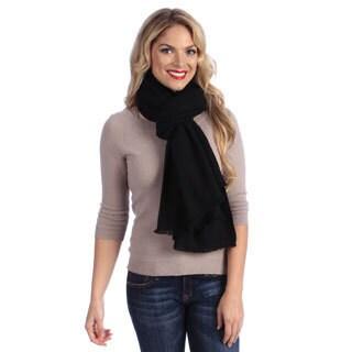 Women's Black Cashmere Twill Weave Stole