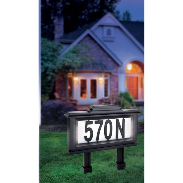 house number sign address plaque solar powered led light wall mount yard stake. Black Bedroom Furniture Sets. Home Design Ideas