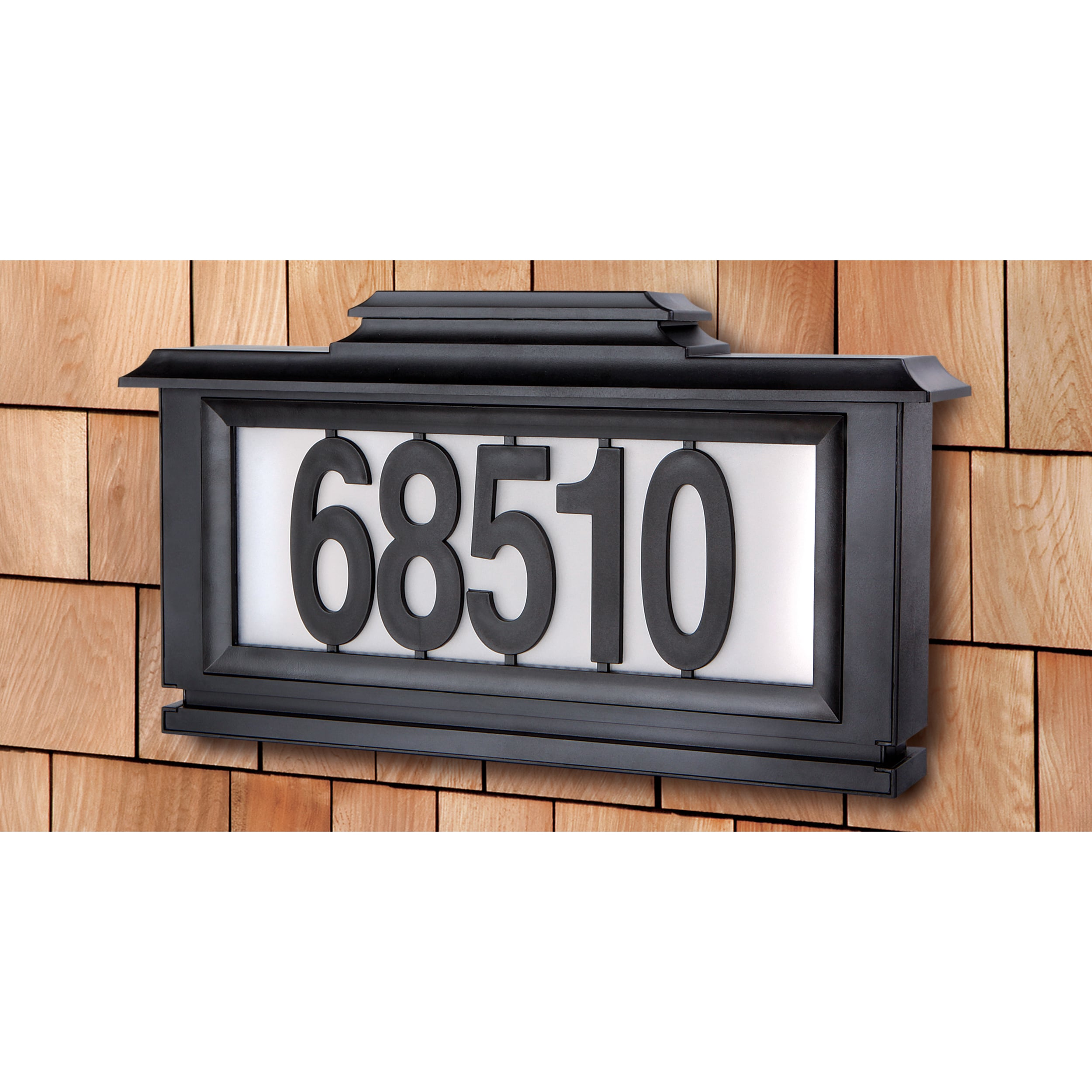 black series solar powered lighted address plaque overstock shopping. Black Bedroom Furniture Sets. Home Design Ideas