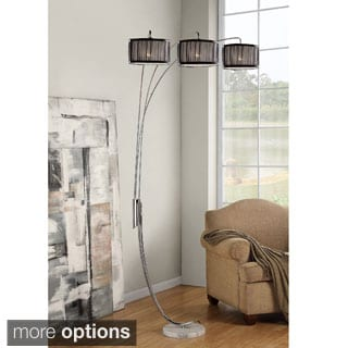 TRIBECCA HOME Modern 3-light Chrome Metal Arch Floor Lamp