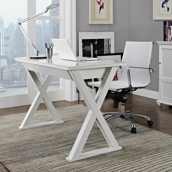 48 in. White Glass Metal Computer Desk