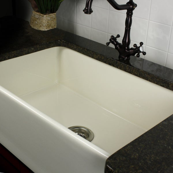 30 In Farmhouse Sink : Highpoint Collection 30-inch Bisque Fireclay Farmhouse Kitchen Sink ...