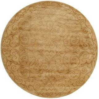 Safavieh Hand-knotted Tibetan Iron Scrolls Light Gold Wool/ Silk Rug (6' Round)