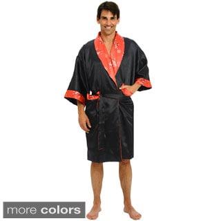 Del Rossa Men's Chinese Kimono Reversible Satin Bath Robe