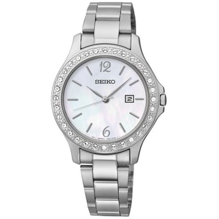 SEIKO Women's Dress Mother-Of-Pearl Dial St. Steel Swarovski Crystal Watch - SXDF85