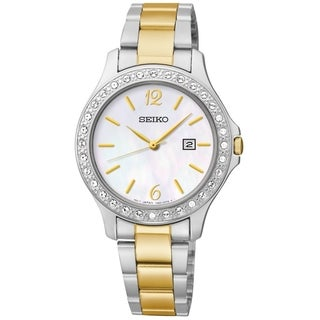 SEIKO Women's Dress Mother-Of-Pearl Dial Two-Tone Swarovski Watch - SXDF95