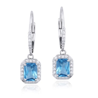 Icz Stonez Sterling Silver Emerald-cut Cubic Zirconia Earrings