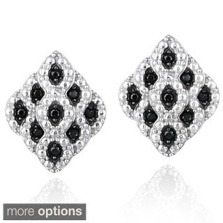 Glitzy Rocks Sterling Silver Gemstone Diamond-shaped Earrings