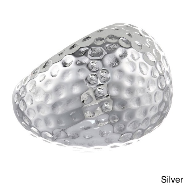 Stainless Steel Hammered 20-mm Dome Ring