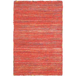 Hand-woven Silky Aurora Red Wool Kilim Rug (2' x 2'11)