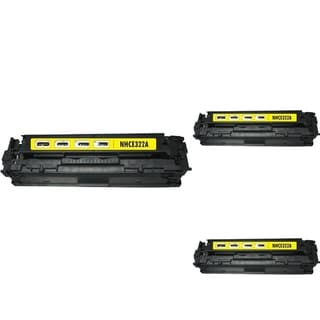 INSTEN Yellow Cartridge Set for HP CE322A (Pack of 3)