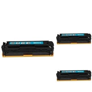 INSTEN Cyan Cartridge Set for HP CF211A (Pack of 3)