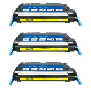 BasAcc Yellow Cartridge Set Compatible with HP Q6472A (Pack of 3)