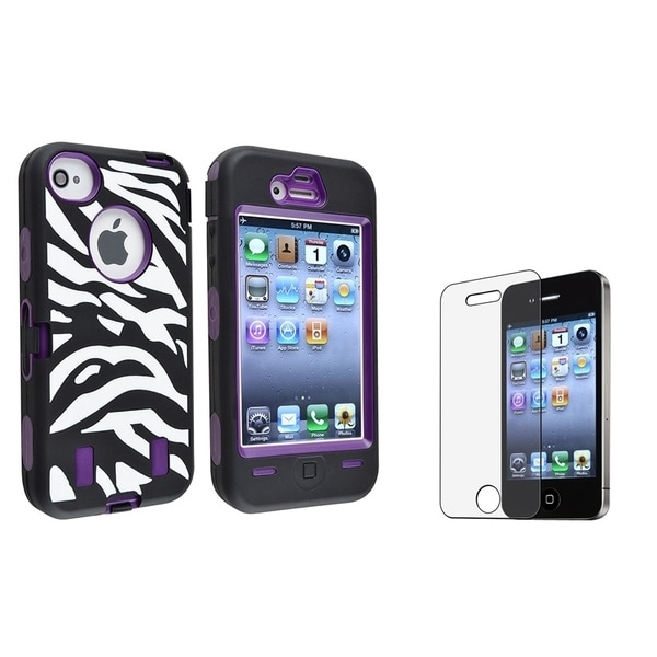 INSTEN Hybrid Phone Case Cover/ Anti-glare Screen Protector for Apple iPhone 4/ 4S