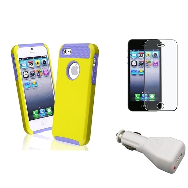 INSTEN Phone Case Cover/ LCD Protector/ Car Charger Adapter for Apple iPhone 5/ 5S