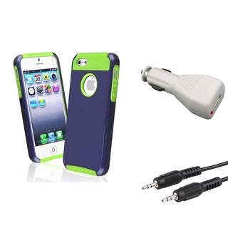BasAcc Case/ 3.5mm Cable/ Car Charger Adapter for Apple iPhone 5/ 5S