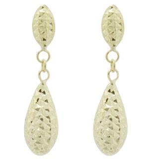 Gioelli Gioelli 14k Yellow Gold Diamond-cut Double Puffed Teardrop Earrings