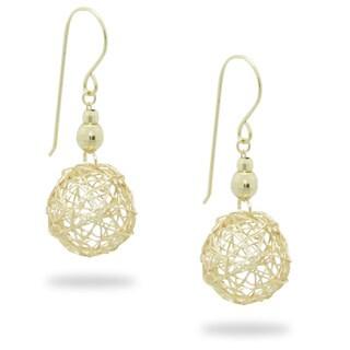 Gioelli 14k Yellow Gold Wire Ball Dangle Earrings