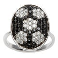 Kabella 18k White Gold Black and White Diamond Oval Ring (H-I, I1-I2)