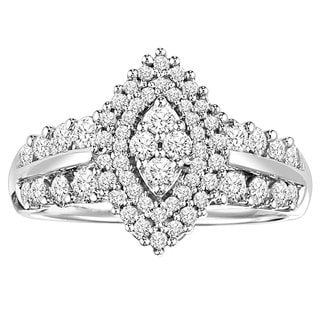 Cambridge Sterling Silver 1ct TDW Diamond Marquise-shaped Engagement Ring (I-J, I2-I3)
