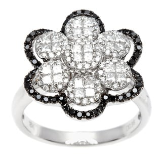 Kabella Luxe 18k White Gold 1ct TDW Black and White Diamond Flower Ring (G-H, SI1-SI2)