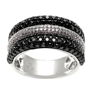 14k Gold 1 7/8ct TDW Black and White Diamond Multi-row Ring (H-I, SI1-SI2)