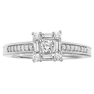 Cambridge Sterling Silver 3/8ct TDW Baguette Diamond Promise Ring