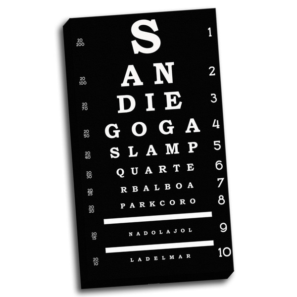 'San Diego Inspired Eye Chart' Wall Art