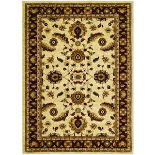 Anatolia Power-loomed Floral Heriz/ Cream-Red Area Rug (5'3 x 7'6)