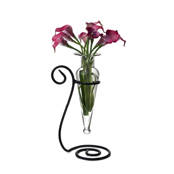 Clear Amphora Glass Flower Vase on Swirl Metal Stand