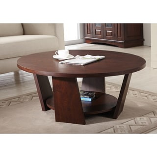 Furniture of america 39 amber 39 round vintage walnut coffee for Coffee tables overstock