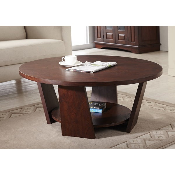 Furniture Of America 39 Amber 39 Round Vintage Walnut Coffee Table Overstock Shopping Great