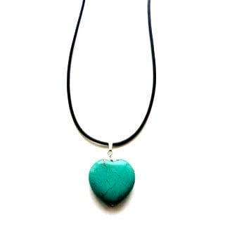 Every Morning Design Blue Truquoise Heart and Black Leather Necklace