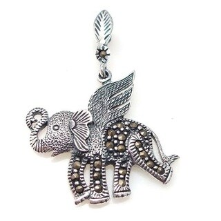 Mighty Flying Elephant Marcasite Sterling Silver Pendant (Thailand)