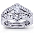 Annello 14k White Gold 3/4 ct TDW Round-Cut Diamond Insert Bridal Set (H-I, I1-I2)