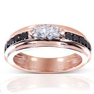 Annello 10k Rose Gold 1ct TDW Black and White Diamond Ring (E-F, VS1-VS2)